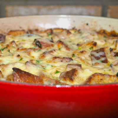 Skillet Bacon and Cheese Strata