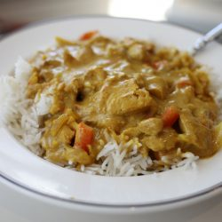 Delicious pub style chicken curry.
