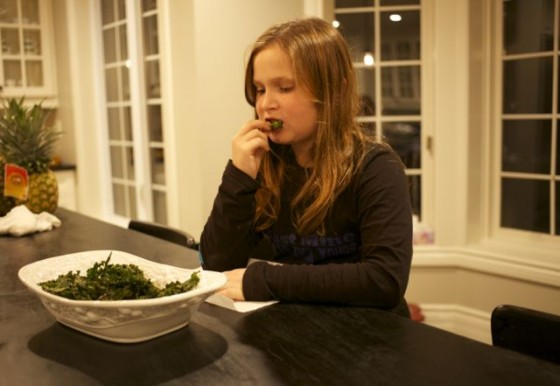 enjoying kale chips