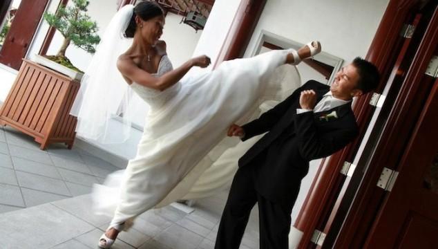 Bride kicking groom
