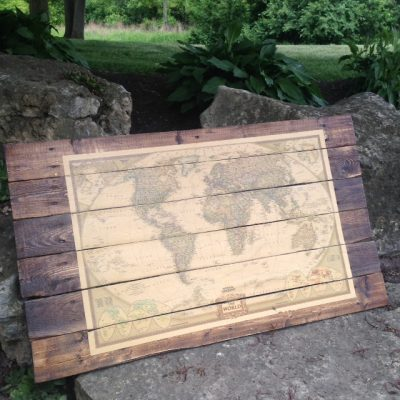 Fun Weekend Project: Vintage Map on Wood