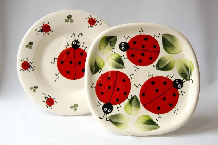 Ladybug ladybird lady bug plates Nova Scotia Jennifer's of Nova Scotia summer
